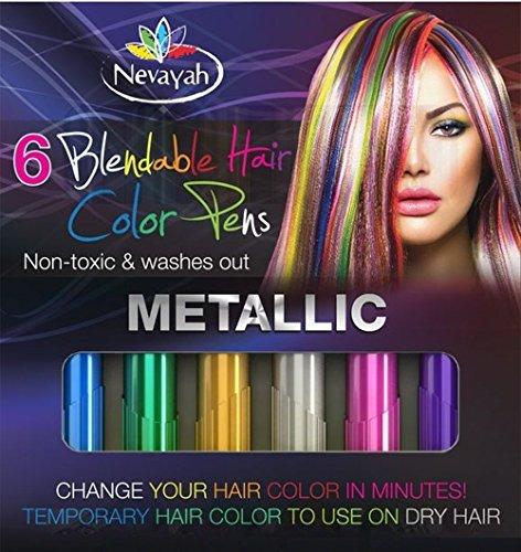 Nevayah Hair Chalk Temporary Hair Multicolor Dye Pens,  Purple / Sapphire Blue / Pink / Gold /...
